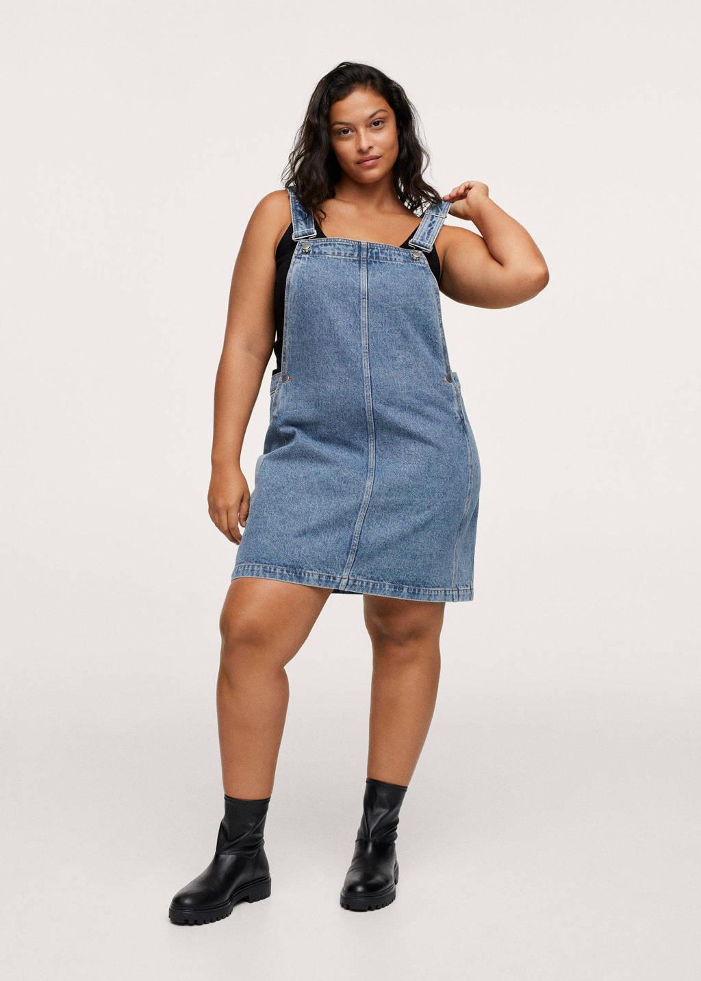 Mango Plus Size spijkerjurk met studs, Blauw