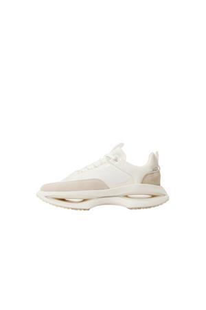 leren sneakers wit/beige