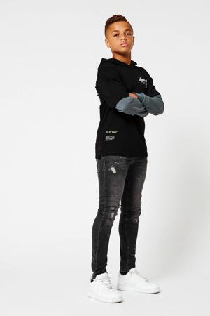 longsleeve Lloyd met tekst zwart/grijsblauw