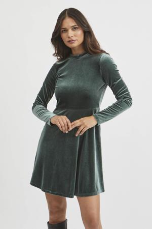 fluwelen A-lijn jurk VIOELLE met plooien groen