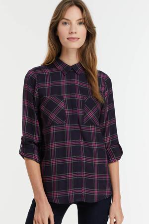 geruite blouse donkerblauw/paars