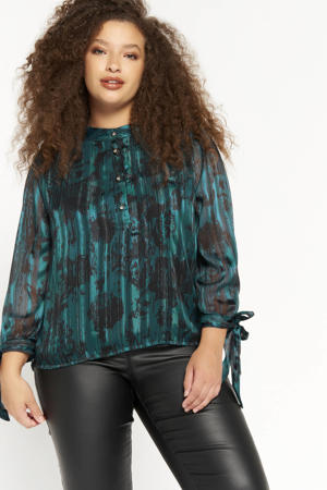semi-transparante blouse met all over print turquoise/zwart