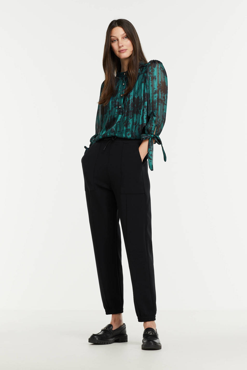 LOLALIZA semi-transparante blouse met all over print turquoise/zwart, Turquoise/zwart