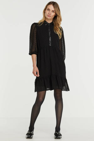 semi-transparante jurk met contrastbies en volant zwart