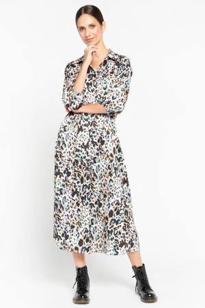 jurk met dierenprint en ceintuur wit/blauw/beige/zwart