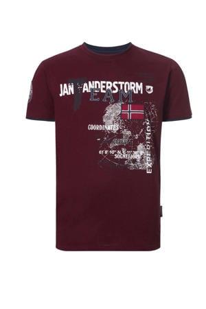 T-shirt SÖLVE Plus Size met printopdruk donkerrood