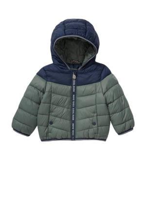 gewatteerde winterjas groen/donkerblauw