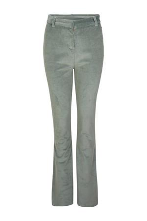 corduroy high waist bootcut broek groen