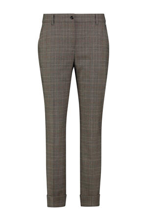 geruite skinny pantalon zwart/bruin/lichtbruin