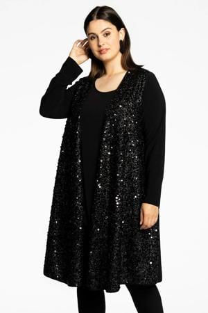 Loretta's Favourites vest SEQUINS met pailletten zwart