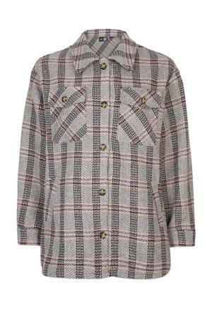 geruite blouse grijs/zwart/roze