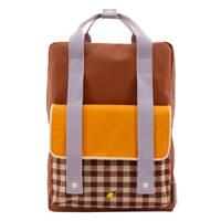 Sticky Lemon  rugzak Gingham Large bruin/oranje, Bruin/oranje