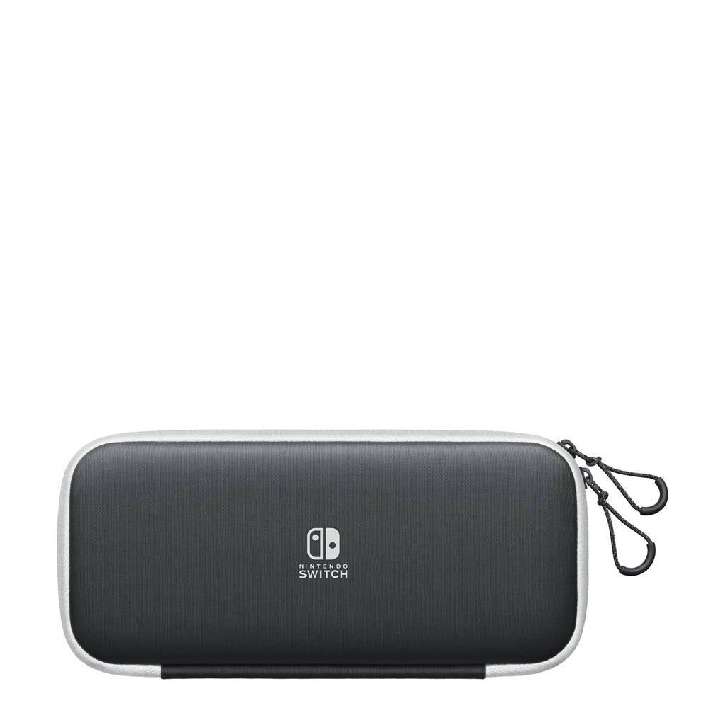 Nintendo Switch OLED etui en beschermfolie, Grijs, wit