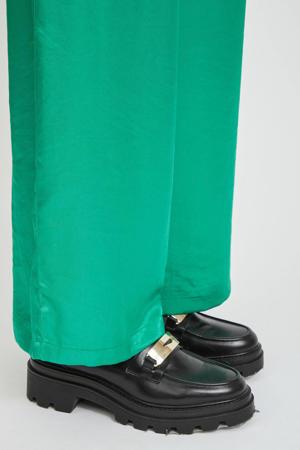 satijnen high waist wide leg palazzo broek VISILLA  groen
