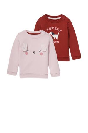 sweater - set van 2 donkerrood/roze
