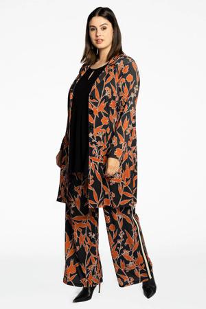 Loretta's Favourites wide leg palazzo broek AUTUMN met zijstreep zwart/oranje/wit