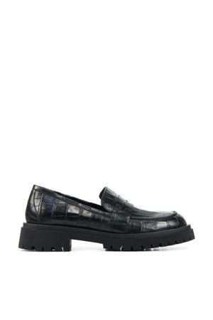 Odesia  leren loafers met crocoprint zwart