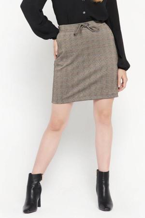 geruite mini rok lichtbruin/zwart