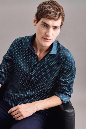 slim fit overhemd met all over print donkerblauw