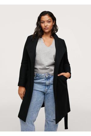 wollen  coat met overslag detail zwart