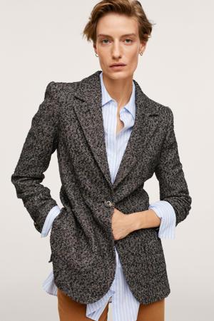 blazer met wol grijs