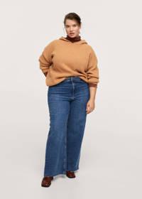 Mango Plus Size gemêleerde gebreide hoodie van gerecycled polyester okergeel, Okergeel