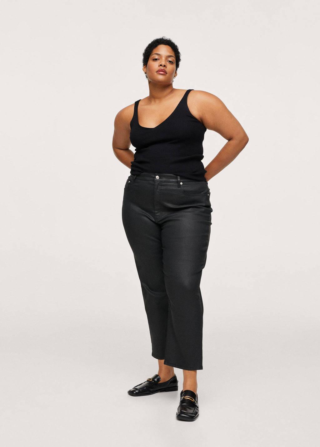 Mango Plus Size straight fit broek zwart, Zwart