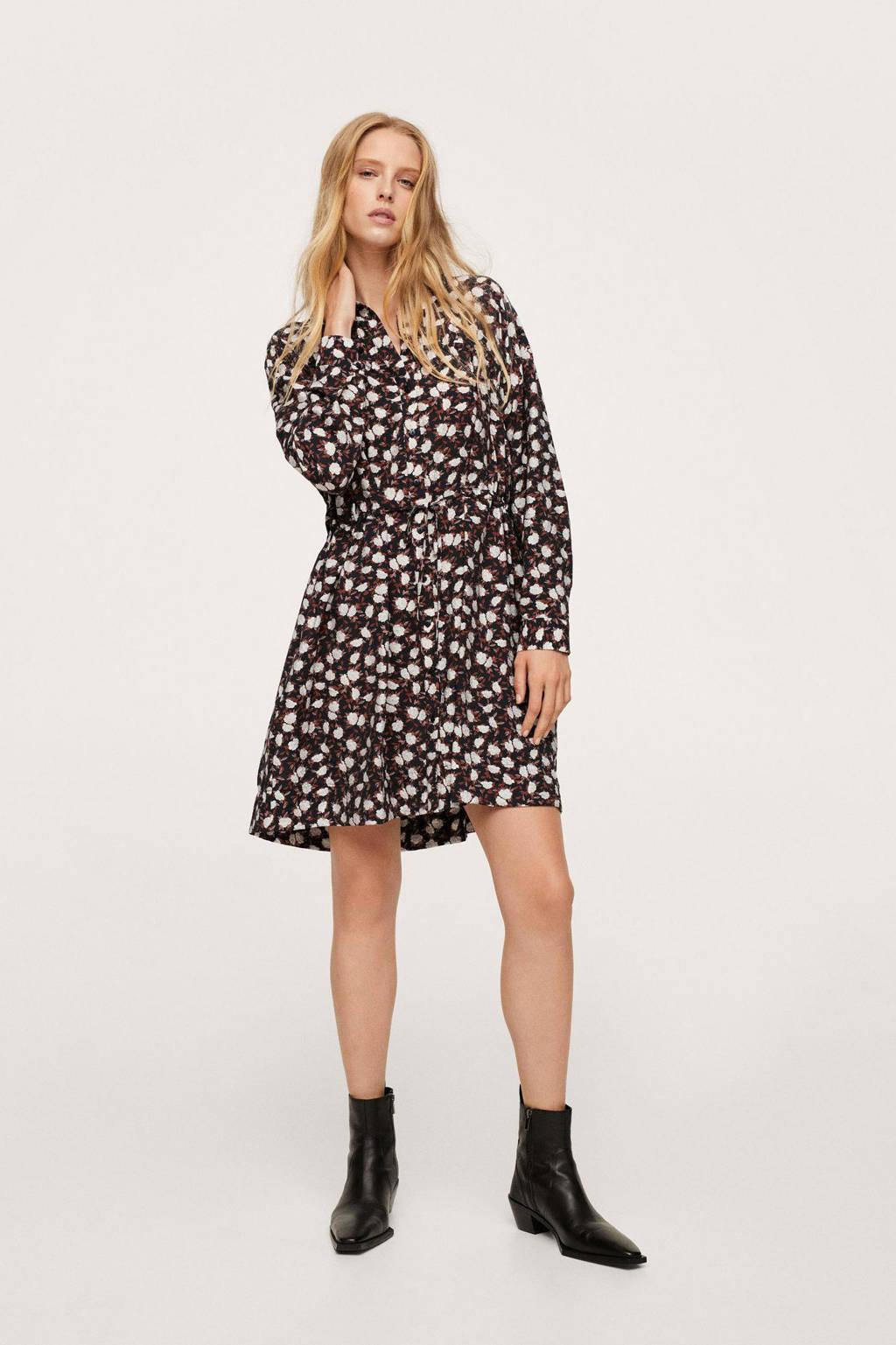 Mango gebloemde jurk zwart/bruin/wit, Zwart/bruin/wit