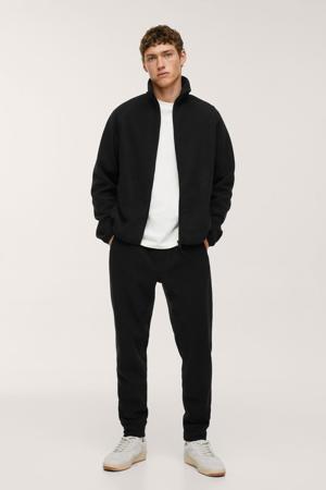 fleece regular fit broek zwart