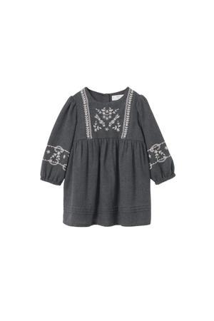 A-lijn jurk met all over print en borduursels antraciet/wit