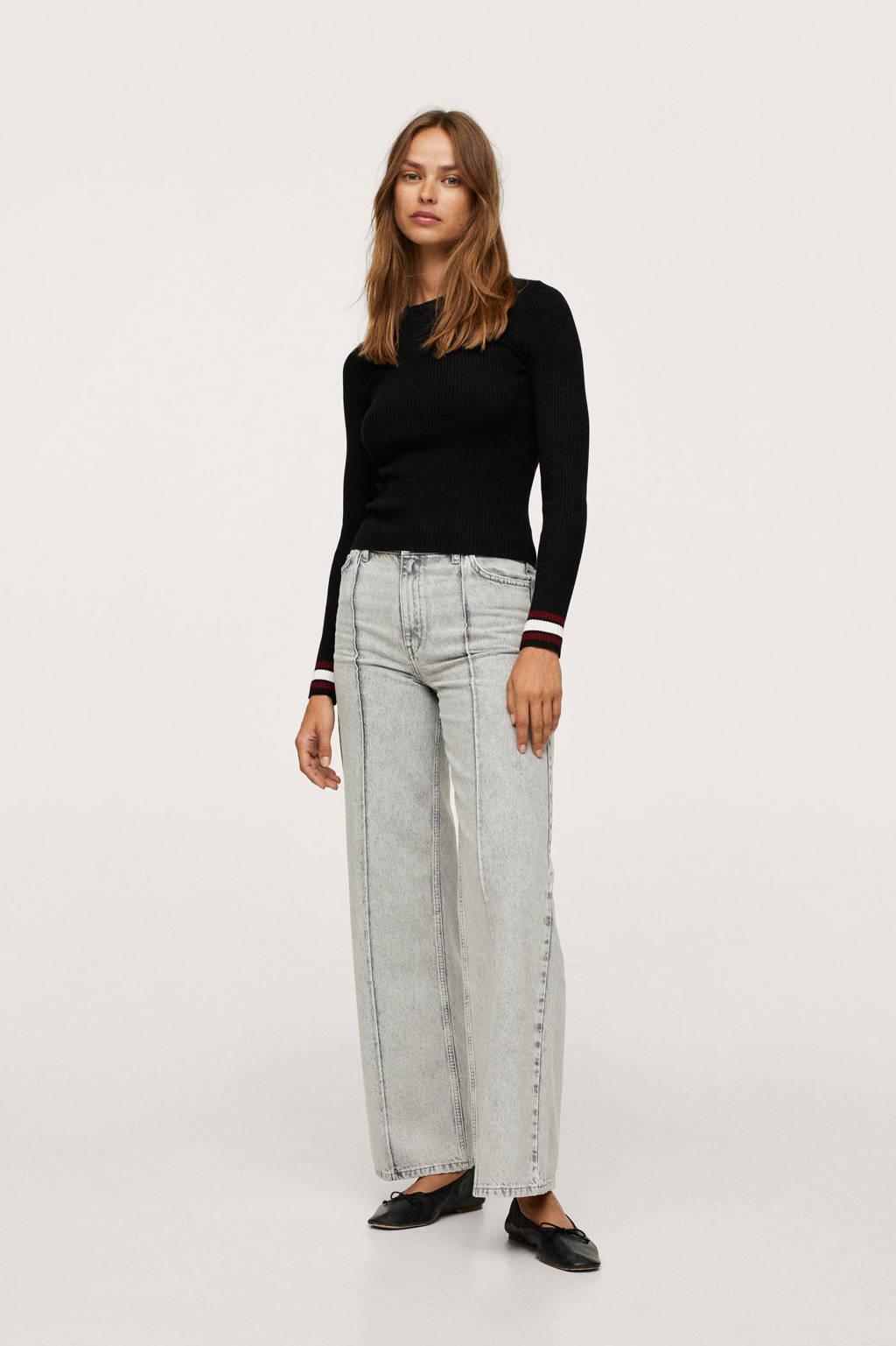 Mango high waist wide leg jeans grijs, Grijs