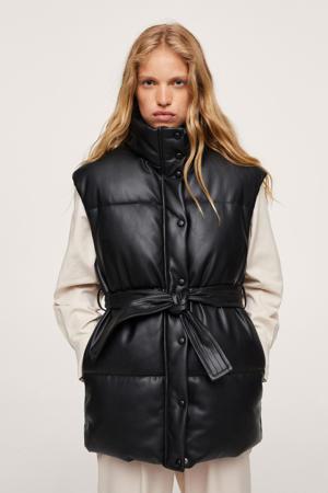 imitatieleren gewatteerde jas met ceintuur zwart
