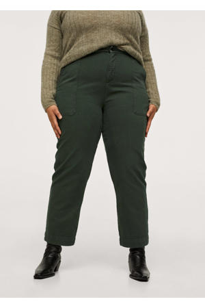 cropped high waist straight fit broek kaki