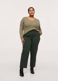 Mango Plus Size cropped high waist straight fit broek kaki, Kaki