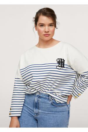 gestreepte sweater ecru/blauw
