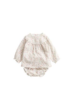 newborn baby jurk met broekje wit/roze