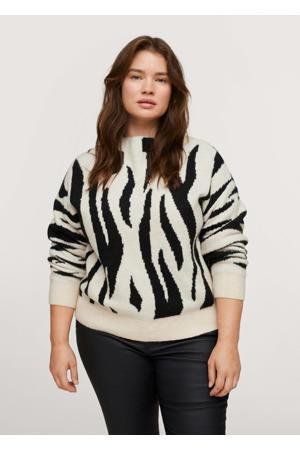 fijngebreide trui met zebraprint ecru/zwart