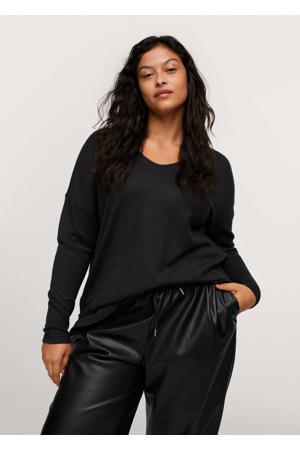 gemêleerde fijngebreide trui zwart