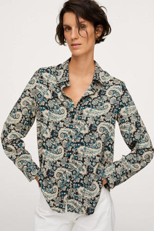 blouse met paisleyprint marine/ecru