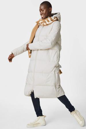 gewatteerde jas van gerecycled polyester wit