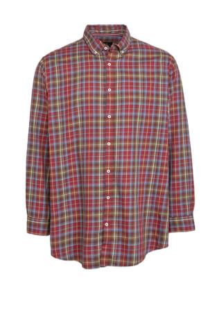 geruit regular fit overhemd donkerrood