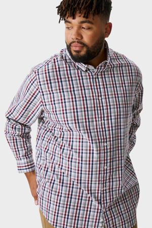 geruit regular fit overhemd donkerblauw/rood