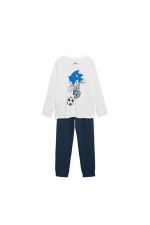 pyjama Sonic met printopdruk donkerblauw/wit
