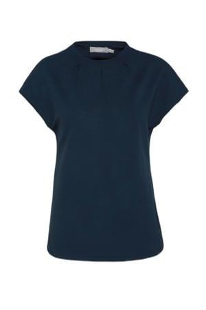 T-shirt met plooien donkerblauw
