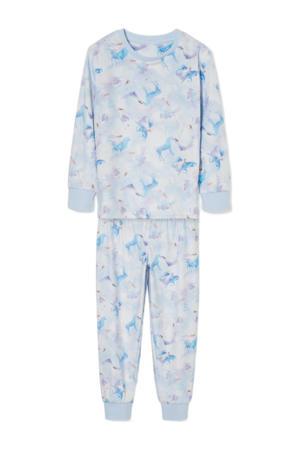 pyjama met all over print lichtblauw