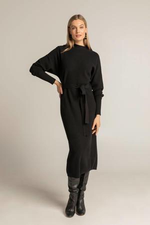 gemêleerde fijngebreide maxi jurk zwart