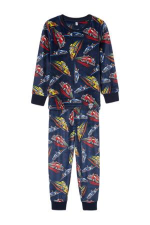 pyjama met all over print donkerblauw/rood/geel