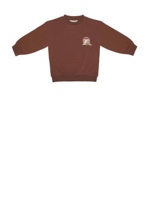 sweater met printopdruk bruin