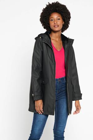 coated jas met imitatiebont gevoerd in zwart