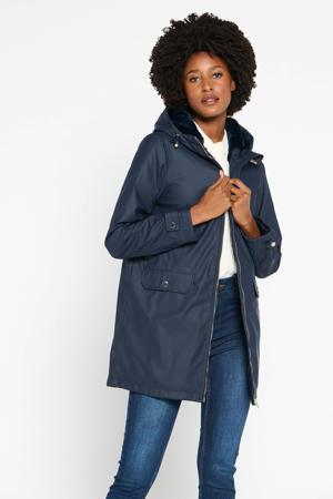 coated jas met imitatiebont gevoerd in donkerblauw